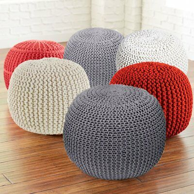 40cm Round Cotton Knitted Pouffe Ball Foot Stool Braided Cushion Rest Seat Se