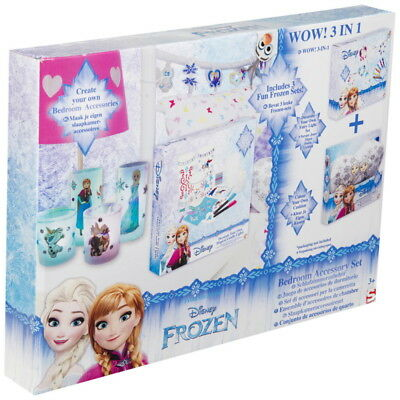 NEW OFFICIAL Disney Frozen Girls Kids Colour Your Own Bedroom Accessories Set
