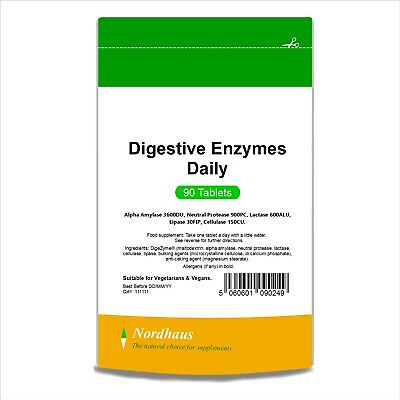 Digestive Enzymes Daily Tablets (90-360) Nordhaus 150mg Digezyme BULK SAVINGS