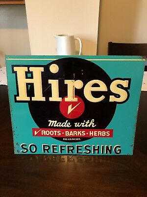 Vintage!! Hires Root Beer tin sign!! 1950's Original!!