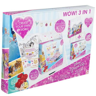 NEW OFFICIAL Disney Princess Girls Kids Colour Your Own Bedroom Accessories Set