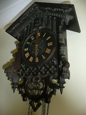 Antique Black Forest Cuckoo Clock, Lovely Carvings. Check This One Out.