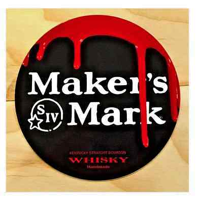 "Makers Mark Whisky Dripping Wax Graphics - Metal Sign  - 7"" Diameter"