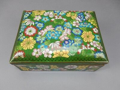 """Large Antique Chinese Cloisonné  Hinged Divided Box/ Humido CHINA mark 8.5"""""""
