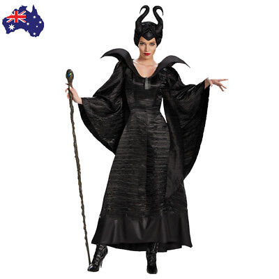 Adult Deluxe Maleficent Christening Black Gown Costume Evil Queen Witch Outfit