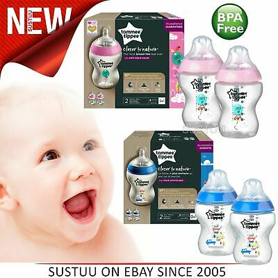 Tommee Tippee Decorated Baby Feeding Silicone Teat Bottles│260ml│2pk│Pink/Blue