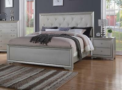 Mcferran B8301 Antique White Bonded Leather Queen Size
