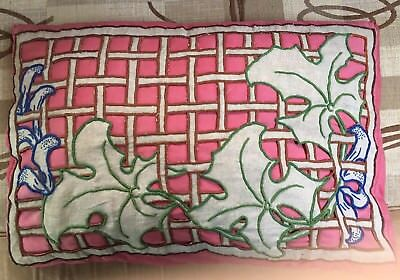 French 1920s Cushion Embroidered Breton Linen Openwork Pink Silk Pillow Antique