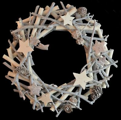 32cm Round Christmas Wreath Wooden Glitter Stars Wall Door Hanging Decor Festive
