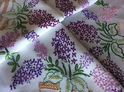 Beautiful Large Vintage Hand Embroidered Tablecloth ~ Lilac Blossoms