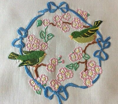 Beautiful Vintage Linen Hand Embroidered Tablecloth ~ Sweet Birds And Florals