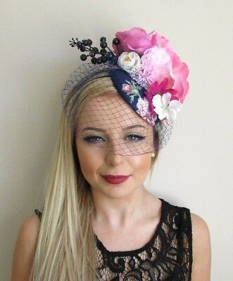Navy Blue White Hot Pink Rose Birdcage Veil Flower Fascinator Hat Races 5687