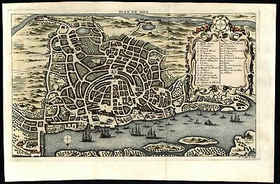 Goa India city plan & harbor birds eye view 1750 Bellin pair of 2 fine old maps