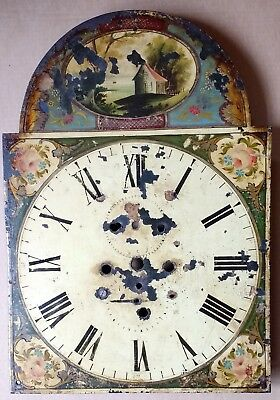 antique painted long-case/grandfather 14ins break-arch clock dial