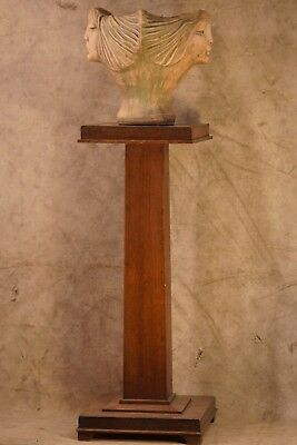 """Antique Mission Style Arts & Crafts Newel Post Wood Plant Stand 27 1/2"""" Tall"""