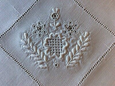 Gorgeous Antique Heavy Linen Tablecloth ~ Hand Embroidered Whitework/cutwork