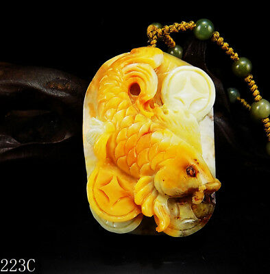 100% Natural Hand-carved Chinese Jade Pendant jadeite Necklace fish&coin 223c