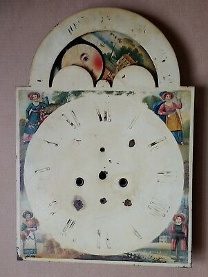 antique painted long-case/grandfather moonphase clock dial