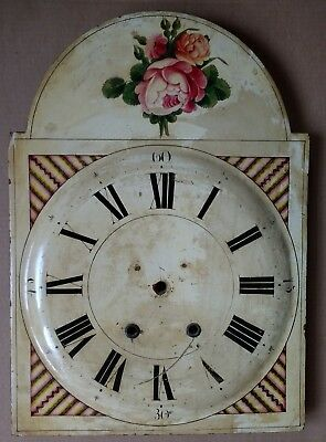 antique painted wood long-case/grandfather clock dial
