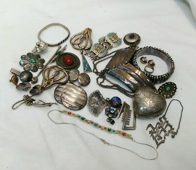 Lot Of Vintage 925 Sterling Silver Jewelry..460 Grams ..some Scrap Some Wearable