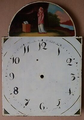 antique painted long-case/grandfather break-arch clock dial