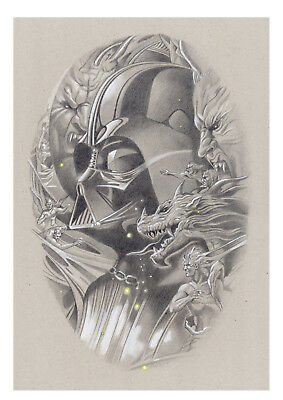 "Litografía EDICIÓN LUJO ""Vader in the dark""  (STAR WARS). Autor: Miguel Alfaro"
