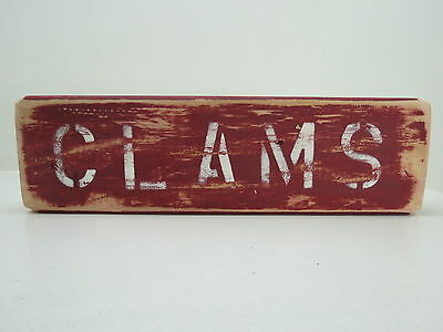 12 Inch Wood Hand Painted Clams Sign Nautical Seafood (#s729)