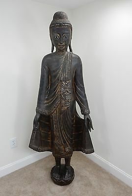 Antique Intricately Carved  Burmese Mandalay Buddah 72 inches 18-19th Century
