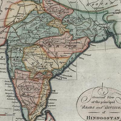 India showing early roads Hindoostan 1795 J. Fraser old lovely hand color map