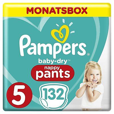 132 Pampers Baby Dry Pants Gr 5 Junior 12-17kg MonatsBox mit 132 Windeln / Pants