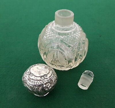 Antique HM 1906 Liberty & Co Solid Sterling Silver Lidded Perfume Bottle