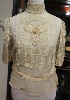 Rare Vintage collectibal unknown Lace Embroidery Dress top without lining