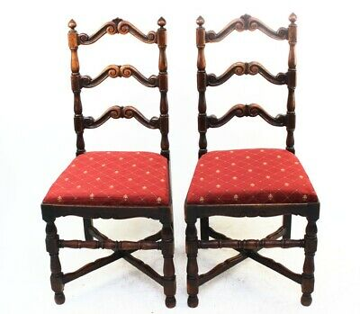 A pair of Georgian Oak Ladder Back Chairs - FREE Shipping [PL4412]