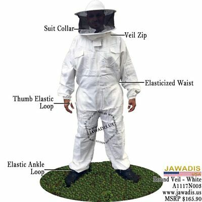 Adult 2XL White Pest Control BeeKeepers Bee Suit Round Sheriff Style Veil & Case