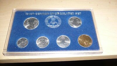 6 Coins of East Germany. Uncirculated. Very beautiful. Case somewhat scratched