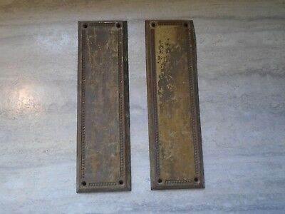 Antique Yale & Towne Y&t Solid Brass Door Push Plate Pair