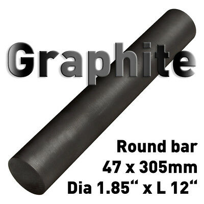 "Carbon Electrode Rod Graphite Stick Dia 1.85"" x 12"" L round bar anode 47 x 305mm"