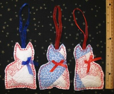 "3 Vtg quilt cat ornies 5-1/2"" patriotic USA red white blue NEW handmade"