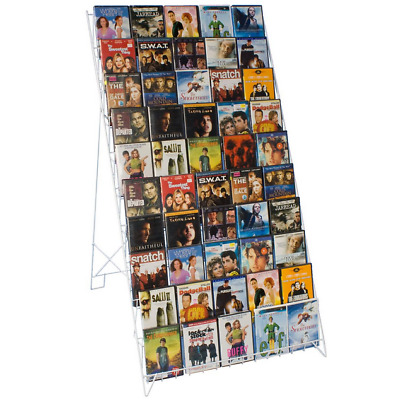 White 10 Tiered Open Shelf Magazine Literature Dvd Magazine Book Display Rack