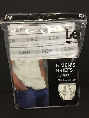 Lee * Men's Briefs * 6 pack * Tag Free * 100% Combed Cotton * Various Sizes *New