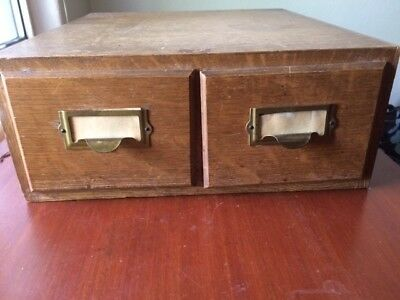 Vintage Wood Library Card Catalog File Cabinet Case Two Drawers