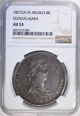 1821GA FS MEXICO 8REALES NGC AU 53 Lot 405