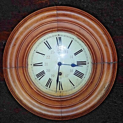 Antique Round Wall Clock Key Wind Wooden Black Forest Dial Brass Pendulum German