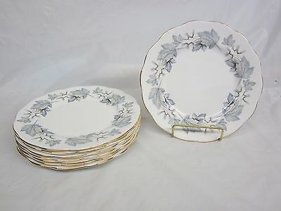 Lot of 8 Royal Albert Silver Maple Salad Plates 8 1/4 inch Excellent
