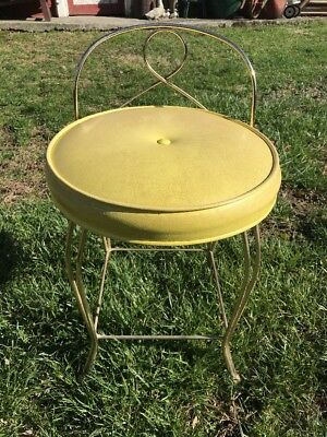 Vtg Mid Century Retro Yellow Naugahyde Metal Leg Vanity Stool Bathroom Chair
