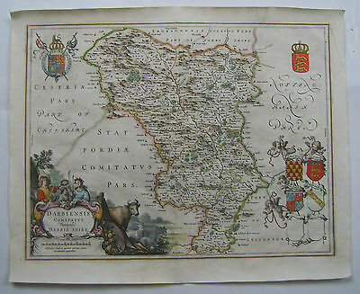 Derbyshire: antique map by Johan Blaeu, 1646-64