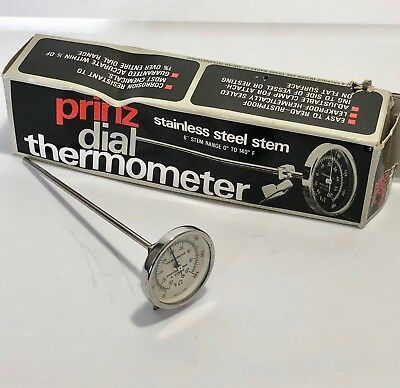 """Prinz Dial Thermometer 6"""" Stainless Steel Stem"""