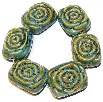 CPC146f Blue Teal & Brown 36mm Flat Rectangle Carved Rose Ceramic Beads 8""