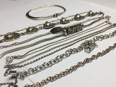 Vintage Sterling Silver Bracelet Lot  No Stones 925 Italy Mexico Solid 89g