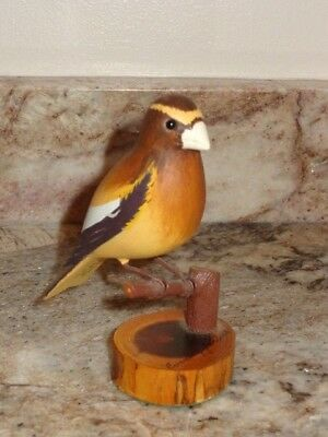 Hand Carved Wood Painted Evening Grosbeak ~ Signed Earl Ensign 1978